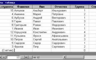 Типы данных в субд access