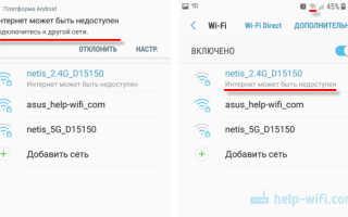 Wifi статус подключено без интернета