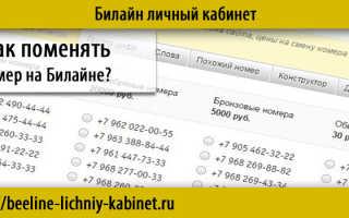 Поменять номер на билайне через интернет бесплатно