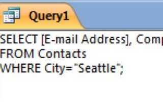 Как написать sql запрос в access